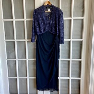 Alex Evenings Blue Gown and Shrug Set